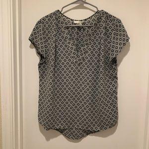 H&M Geometric Black & Grey Print V Neck Blouse